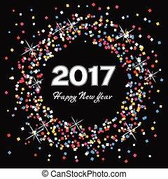 coloridos, vetorial, fundo, ano, novo, 2017, feliz, cartão, celebração