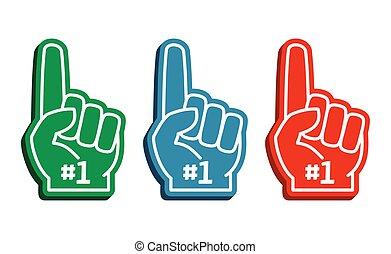 coloridos, vetorial, jogo, dedos, espuma