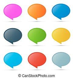 coloridos, vetorial, oval, etiquetas, jogo, isolado, branco, fundo