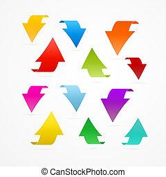 coloridos, vetorial, setas, isolado, branco, fundo