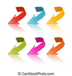 coloridos, vetorial, setas, jogo, isolado, branco, fundo