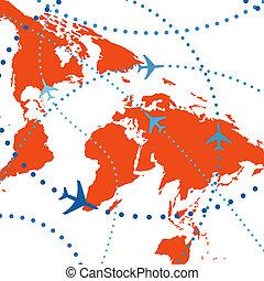 coloridos, viagem, ar, vôos, tráfego, linha aérea, aviões