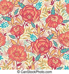 coloridos, vibrante, flores, seamless, padrão, fundo