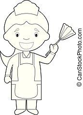 coloring, горничная, иллюстрация, мультфильм, girl., вектор, уборка, легко, или