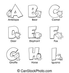 Coloring Alphabet for Kids, A to I