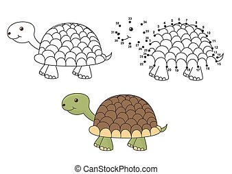 Coloring and dot to dot game - Cute cartoon turtle. Coloring...