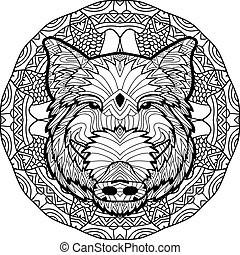 Coloring antistress page. Wild boar is drawn by hand with ink. Zendoodle.