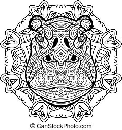 Coloring antistress. Strong Hippo is drawn by hand with ink