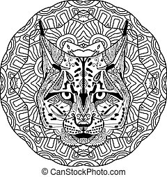 Coloring antistress. Strong lynx, bobcat is drawn by hand with ink