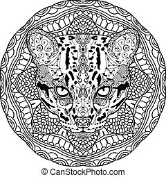 Coloring antistress. Strong wild cat is drawn by hand with ink. Zendoodle.