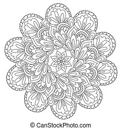 Vector outline black beautiful abstraction mandala for coloring. Decoration round ornament