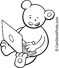 coloring, bjørn, bog, notesbog