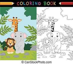 coloring bog, cartoon, safari, dyr