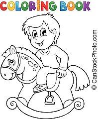coloring bog, dreng, på, rokke hest