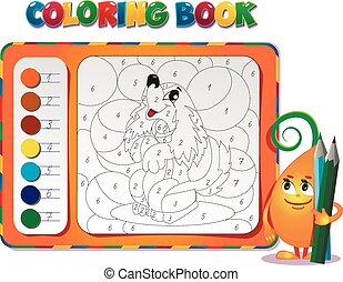 Coloring book about dog - choose the color of the figure....