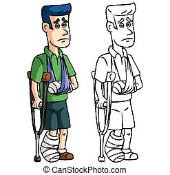 Coloring book accident insurance cartoon character - vector illustration .EPS10
