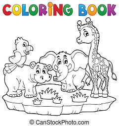 Coloring book African fauna 2 - eps10 vector illustration.