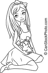 Coloring book: Alice holding rabbit wearing top hat