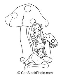 Coloring Book Alice In Front Of Mushroom Holding Rabbit Wearing Top Hat