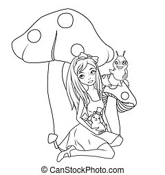 Coloring book: Alice in front of mushroom holding rabbit wearing top hat