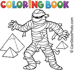 Coloring book ancient mummy - eps10 vector illustration.