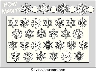 Coloring book and educational game how many snowflakes for children. Vector illustration.