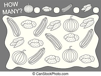 Coloring book and math game how many vegetables. Education. Leisure activity. Vector illustration.