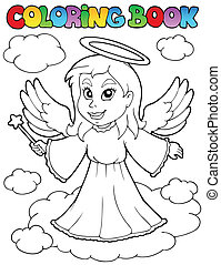 Coloring book angel theme image 1 - vector illustration.