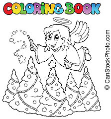 Coloring book angel theme image 2