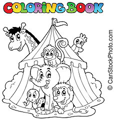 Coloring book animals in tent - vector illustration.