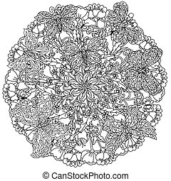 coloring book antistress style picture - mandala shape...