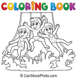 Coloring book aquapark theme 1 - eps10 vector illustration.
