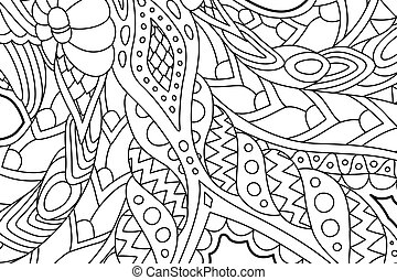 Coloring book art with abstract linear pattern