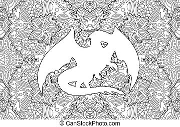 Coloring book art with dragon on detailed pattern