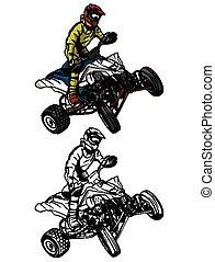 Coloring book ATV moto character - Coloring book ATV moto...