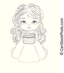 Coloring book baby princess with gift