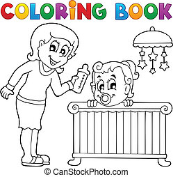 Coloring book baby theme image 1