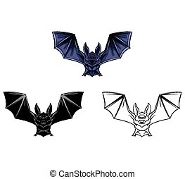 Coloring book Bat Tattoo character