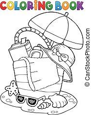 Coloring book beach bag and umbrella - eps10 vector...