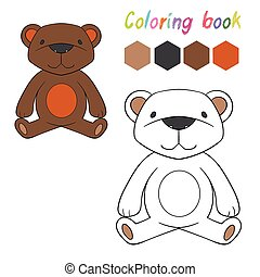 Coloring book bear kids layout for game