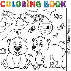 Coloring book kids play theme 4 - eps10 vector illustration.