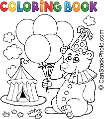 Coloring book bear with balloons