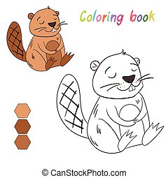 Coloring book beaver kids layout for game