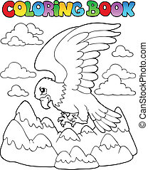Coloring book bird image 2 - vector illustration.