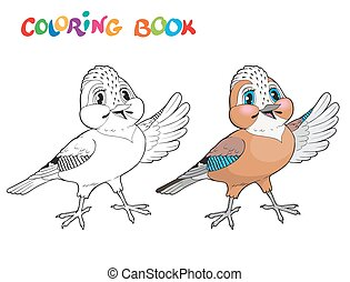 Coloring book bird - isolated vector illustration. -...