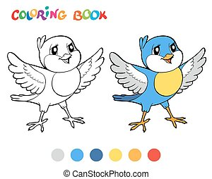 Coloring book bird - vector illustration.