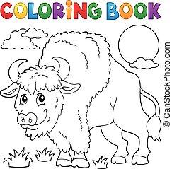 Coloring book bison illustration.