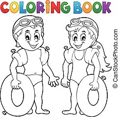 Coloring book boy and girl swimmers