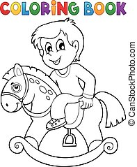 Coloring book boy on rocking horse