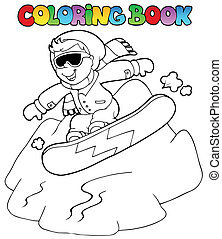Coloring book boy on snowboard - vector illustration.